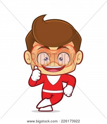 Clipart Picture Of A Superhero Cartoon Character Leaning On An Empty Block