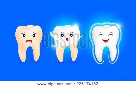 Set Of  Clean And Dirty Tooth Character On Blue Background, Clearing Tooth Process. Teeth Whitening.