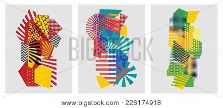 Colorful Trendy Geometric Flat Elements Of Pattern Memphis. Pop Art Style Texture. Modern Abstract D