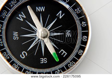 Closeup of compass on plain background