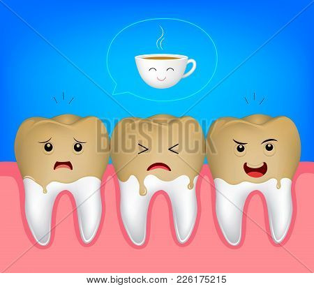Tooth Character With Cooffee Stains. Coffee Makes Your Teeth Yellow. Funny Illustration.