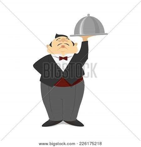 Waiter, Illustration, Restaurant, Cartoon, Isolated, Man, Food, Service, White, Nature, Service, Dis