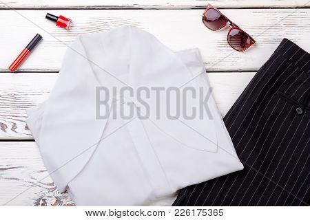 Female White Blouse And Black Skirt. Set Of Business Style Apparel And Accessories For Women. Lookbo