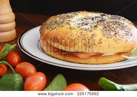 Close Up View Of Smoked Salmon Bagel With Cream Cheese