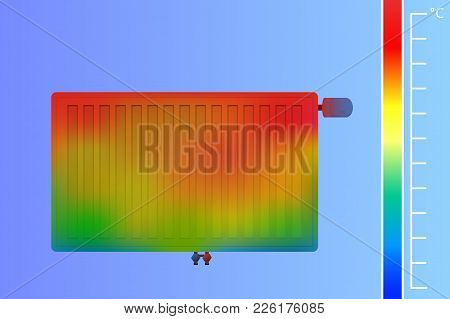 Steel Panel Radiator On The Wall Vector Illustration. Heating System For A Thermal Imager. Colored T
