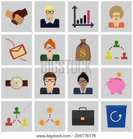 Icons Set Revenue Concept. Vector Sign Of Business. Collection Of Square Symbols.