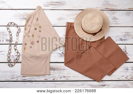 Women Classic Clothes Set, Top View. Female Blouse, Trousers And Hat. Feminine Elegant Apparel And A