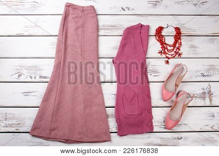 Set Of Female Elegant Clothes And Accessories. Women Skirt, Cardigan, Sandals And Necklace. Feminine