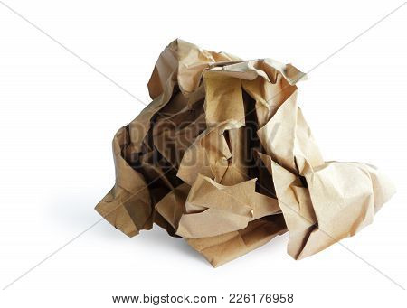 Recycle Paper Rubbish Isolated On White Background, Clipping Path.