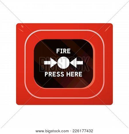 Red Fire Alarm Box. Smoke Detector Vector Illustration.
