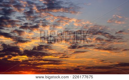 Colorful Dramatic Sky With Cloud At Sunset Background