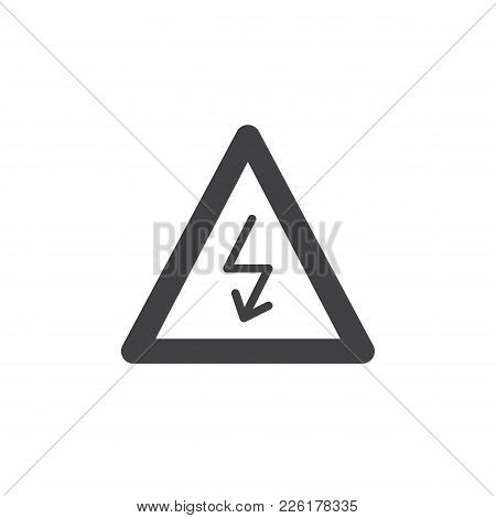 High Voltage Sign Icon Vector, Filled Flat Sign, Solid Pictogram Isolated On White. Danger Electrici