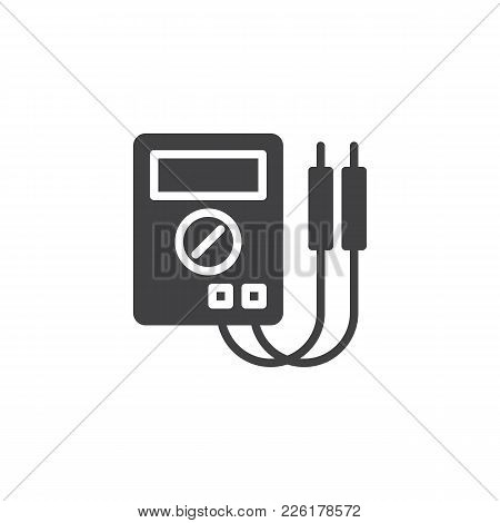 Digital Multimeter Icon Vector, Filled Flat Sign, Solid Pictogram Isolated On White. Electrical Meas