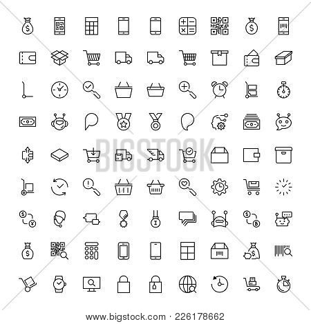 E-commerce Flat Icon Set . Single High Quality Outline Symbol Of Info For Web Design Or Mobile App.