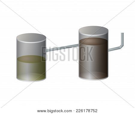 Underground Septic Tank Vector Illustration. A System Of Sewers.