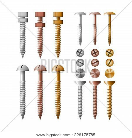 Set Screws Stainless Steel, Copper And Bronze. The Collection Fastener Symbol Vector Illustration.