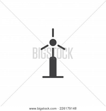 Wind Energy Turbine Icon Vector, Filled Flat Sign, Solid Pictogram Isolated On White. Bio And Ecolog