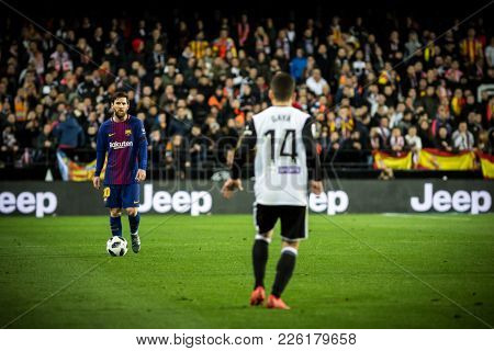 VALENCIA, SPAIN - FEBRUARY 8: Messi with ball during Spanish King Cup match between Valencia CF and FC Barcelona at Mestalla Stadium on February 8, 2018 in Valencia, Spain