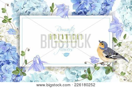 Vector Horizontal Banner With Blue, White Hydrangea Flowers And Bird On White Background. Floral Des