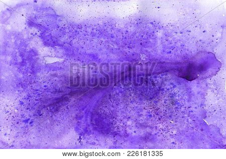 Watercolor Background With Paint Purple Drips. Ultra Violet Abstract Watercolour Shape Used For Maga