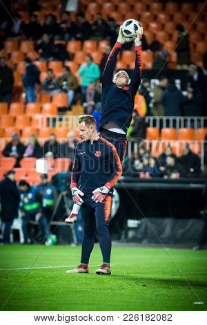 VALENCIA, SPAIN - FEBRUARY 8: Cillessen with ball during Spanish King Cup match between Valencia CF and FC Barcelona at Mestalla Stadium on February 8, 2018 in Valencia, Spain