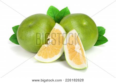 Citrus Sweetie Or Pomelit, Oroblanco With Slices And Leaf Isolated On White Background Close-up.