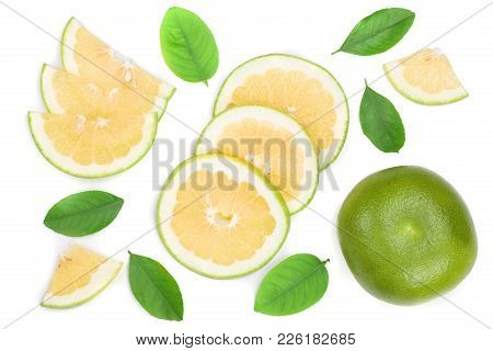 Citrus Sweetie Or Pomelit, Oroblanco With Slices And Leaf Isolated On White Background Close-up. Top