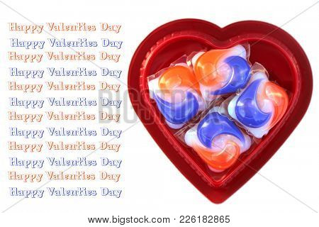 Laundry Detergent Pods in a Heart Shaped Valentines Day Chocolate Gift Box.