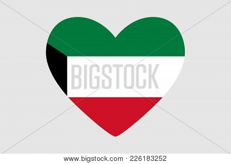 Heart Of The Colors Of The Flag Of Kuwait, Vector