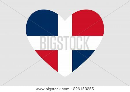 Heart Of The Colors Of The Flag Of Dominican Republic, Vector