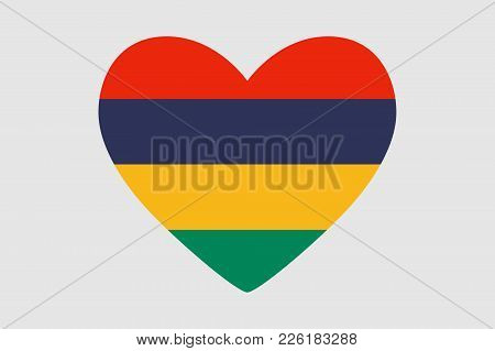 Heart Of The Colors Of The Flag Of Mauritius, Vector