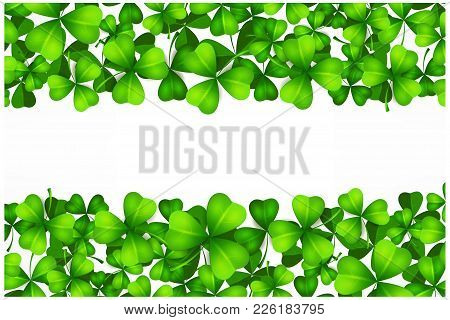 Saint Patricks Day Background With Lucky Green Clover Leaves Or Shamrocks On White. Vector Illustrat