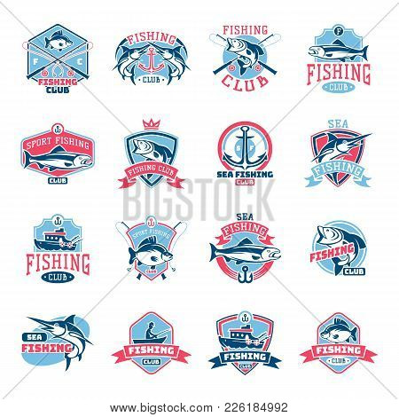 Fishing Logo Vector Fishery Logotype With Fisherman In Boat And Emblem With Fished Fish For Fishingc