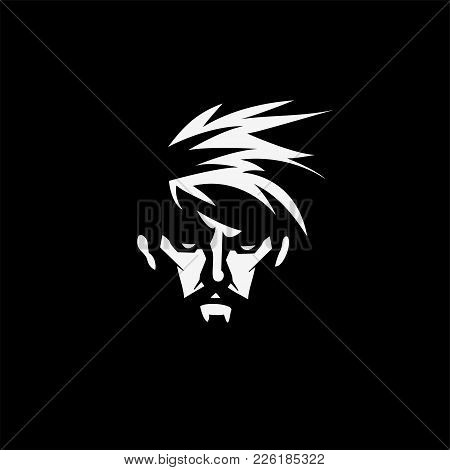 Face Of A Bearded Man On Black Background Vector Illustration Design.