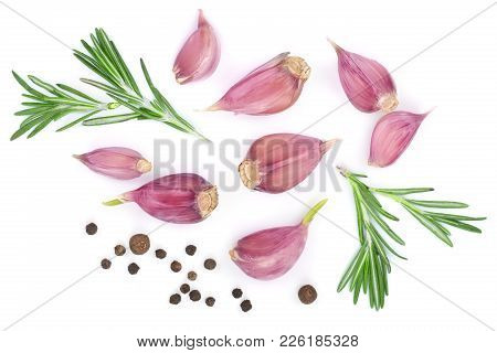 Garlic With Rosemary And Peppercorn Isolated On White Background. Top View. Flat Lay Pattern.