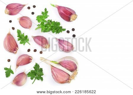Garlic With Peppercorns And Parsley Leaves Isolated On White Background With Copy Space For Your Tex