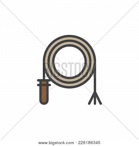 Rodeo Whip Filled Outline Icon, Line Vector Sign, Linear Colorful Pictogram Isolated On White. Symbo