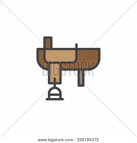 Cowboy Western Saddle Filled Outline Icon, Line Vector Sign, Linear Colorful Pictogram Isolated On W