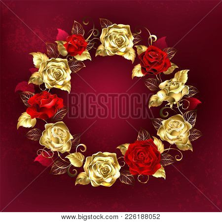 Round Wreath Of Red And Gold Roses With Gold Leaves On A Red Textured Background. Design With Roses.