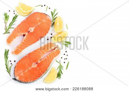 Slice Of Red Fish Salmon With Lemon, Rosemary And Peppercorns Isolated On White Background With Copy