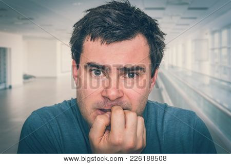 Nervous Man Biting His Nails - Nervous Breakdown Concept - Retro Style
