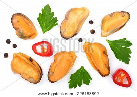 Mussels With Parsley And Peppercorns Isolated On White Background. Top View. Flat Lay.