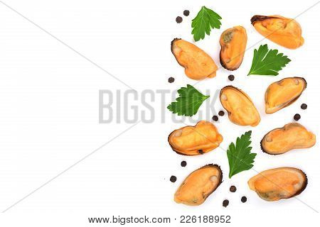 Mussels With Parsley And Peppercorns Isolated On White Background With Copy Space For Your Text. Top