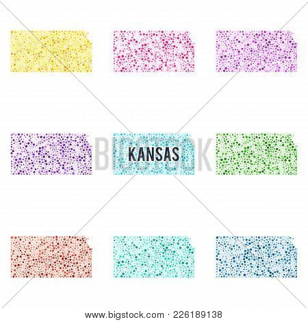 Vector Colourful Dotted Map Of The State Of Kansas. Set Of Different Color Solutions