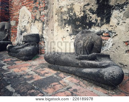 Ancient Remains Of Thai Historical ,buddha Head