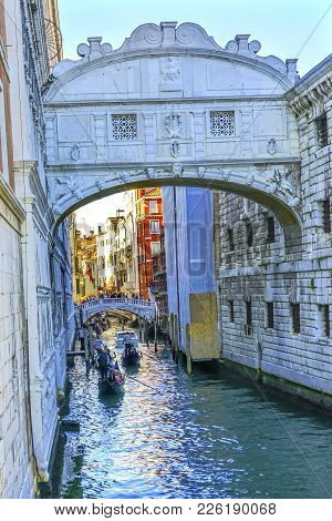 Gondola Touirists Colorful Side Canal Bridge Sighs Venice Italy