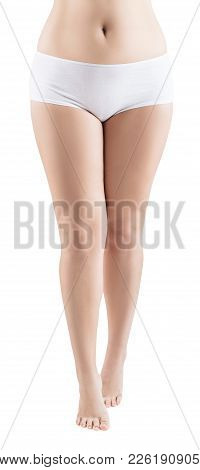 Female Legs In White Panties With A Little Overweight Isolated On White.