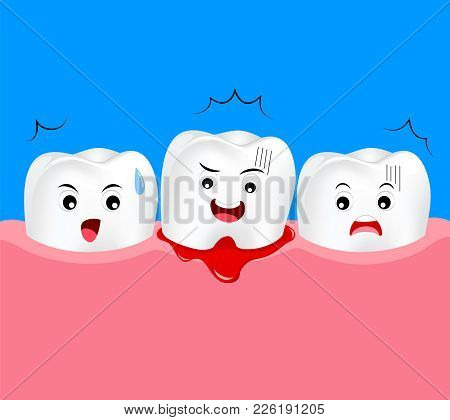 Cute Cartoon Tooth Character With Gum Problem. Dental Care Concept, Gingivitis And Bleeding. Illustr