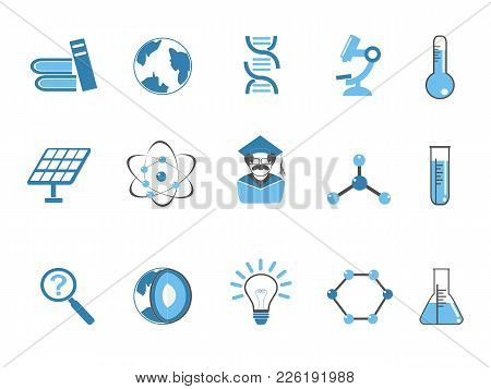Isolated Blue Color Science Icons Set From White Background