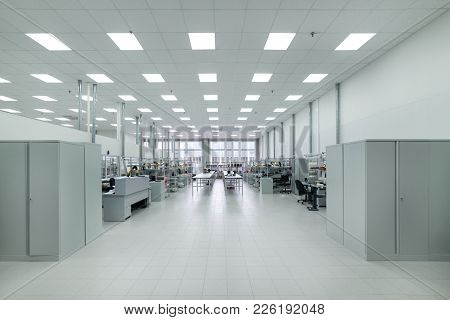 Clean Production Room. Manufacture Of Industrial Electronics. Shop Assembly Of Electronic Components